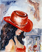 The Lady In Red Framed Prints - Lady in the Red Hat Framed Print by Genevieve Brown