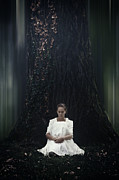 White Dress Posters - Lady In The Woods Poster by Joana Kruse