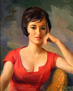 Portrait With Red Chair Posters - Lady in Thought Poster by Art By Tolpo Collection