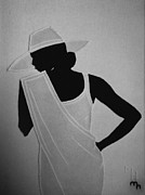 Black White Tapestries - Textiles Prints - Lady in White Print by Marie Halter