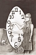 Clock Drawings Posters - Lady Justice and the Handless Clock Poster by Richie Montgomery