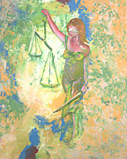 Justice Painting Originals - Lady Justice and the Man by Peter Bonk