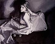 Justice Painting Originals - Lady Justice  black and white by Laura Pierre-Louis
