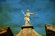 Art Of Building Prints - Lady Justice. Streets of Dublin. Painting Collection Print by Jenny Rainbow