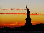 Susan Wiedmann Metal Prints - Lady Liberty at Sunset Metal Print by Susan Wiedmann