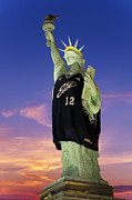 Nba Photo Framed Prints - Lady Liberty Dressed Up For The NBA All Star Game Framed Print by Susan Candelario