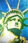 Statue Portrait Drawings Posters - Lady Liberty Poster by Jerrett Dornbusch
