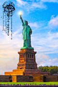 Historic Statue Digital Art Prints - Lady Liberty Lifting Her Light Print by Mark E Tisdale