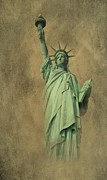 York Beach Digital Art Metal Prints - Lady Liberty New York Harbor Metal Print by David Dehner