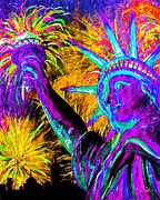 Fireworks Paintings - Lady Liberty NYC by Teshia Art