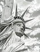 Lady Liberty Drawing Print by Sarahphim Art