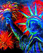 Skylines Painting Posters - Lady Liberty Poster by Teshia Art