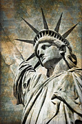 Statue Portrait Digital Art Prints - Lady Liberty vintage Print by Delphimages Photo Creations