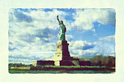 Photography Statue Photography Framed Prints - Lady Liberty Vintage Framed Print by Zeana Romanovna