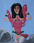 Bracelets Framed Prints - Lady Lobster Framed Print by Lorna Maza