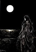 Gothic Drawings Originals - Lady Midnight by Anthony Hodgson