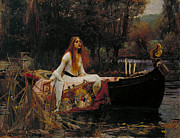Pre-19th Prints - Lady of Shalott Print by John William Waterhouse