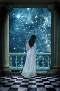 Moonlit Night Framed Prints - Lady on Balcony at Night Framed Print by Jill Battaglia