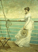 Wooden Ship Painting Framed Prints - Lady on the Deck of a Ship  Framed Print by French School