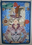 Quilts Tapestries - Textiles Metal Prints - Lady Punk Metal Print by Linda Egland