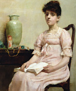 Light Pink Prints - Lady Reading Print by Fanny Caille