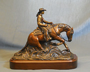Animals Sculptures - Lady Reiner bronze reining horse sculture by Kim Corpany