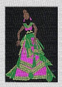 Dark Tapestries - Textiles Prints - Lady Singer Print by Ruth Ash