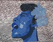 Art Quilt Tapestries - Textiles Prints - Lady Sings Print by Aisha Lumumba