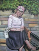 Melinda Saminski Prints - Lady Sitting on a Bench with Pink Hat Print by Melinda Saminski