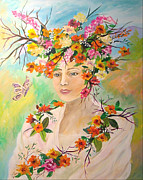Leaves In Hair Posters - Lady Spring Poster by Donna La Placa