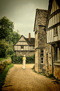 Charming Cottage Photo Prints - Lady Walking in the Village Print by Jill Battaglia