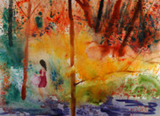 Wet Into Wet Watercolor Prints - Lady Walking Through Fall Print by Brook Powell