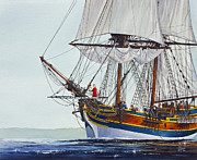Wooden Ship Painting Prints - Lady Washington and Captain Gray Print by James Williamson
