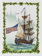 Maritime Greeting Card Framed Prints - Lady Washington and Holly Framed Print by James Williamson