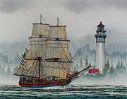 Nautical Greeting Card Prints - Lady Washington at Grays Harbor Print by James Williamson