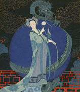 Oriental Metal Prints - Lady with a Dragon Metal Print by Georges Barbier