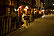 Entering Photo Prints - Lady with a kimono entering an entertainment house in Kyoto Print by Ruben Vicente