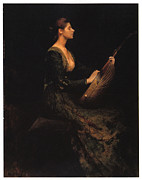 Victorian Dress Posters - Lady with a Lute Poster by Thomas Wilmer Dewing