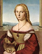 Unicorn Paintings - Lady with a Unicorn - 1505 by Raphael