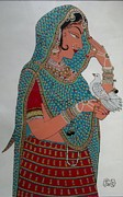 Traditional Glass Art - Lady With Dove by Prachi Arora