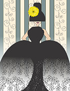 Evening Dress Mixed Media Framed Prints - Lady with lace ballgown and yellow daisy hat  Framed Print by Mira Dimitrijevic