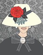 Vogue Mixed Media - Lady with red peony flower hat by Mira Dimitrijevic
