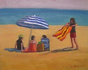 Beach Towel Prints - Lady with Striped Towel Print by Jennifer Boswell