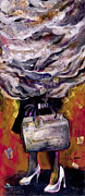 Tilly Strauss Mixed Media Metal Prints - Lady with suitcase and storm cloud Metal Print by Tilly Strauss