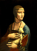 Da Vinci Mixed Media - Lady with the Ermine Reproduction by Da Vinci
