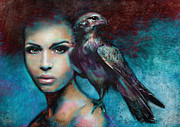Fashion Digital Art Metal Prints - Lady with the Falcon Metal Print by Slaveika Aladjova