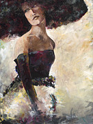 Netting Painting Prints - Lady with the Netted Hat Print by Karen Ahuja