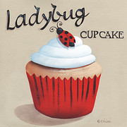 Cake Framed Prints - Ladybug Cupcake Framed Print by Catherine Holman
