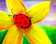 Insects Pastels - Ladybug on Flower by Tiffany Albright