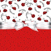 Ladybugs Posters - Ladybug Red And White  Poster by Debra  Miller